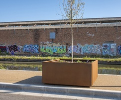 Bespoke corten steel tree planter - Tyseley Wharf