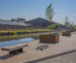 Bespoke corten steel street furniture - Tyseley Wharf