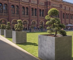 Bespoke zinc tree planters - V&A Museum, London