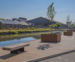 Corten tree planters and matching bench