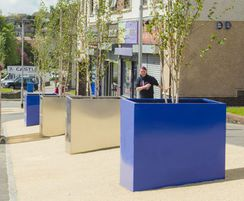 Stainless steel and powder coated planters