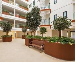 Large bespoke corten steel effect planters