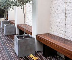 Straight powder coated steel and timber benches