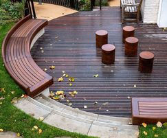 Timber curved bespoke seating arrangement