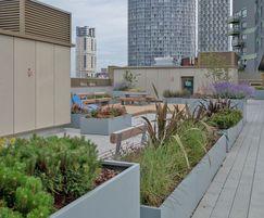 Range of steel planters on roof garden
