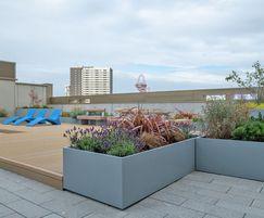 Steel planters for communal roof garden