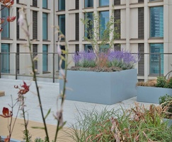 Steel planters for student accommodation roof garden