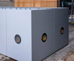 Podium planters with recessed luminaire lighting