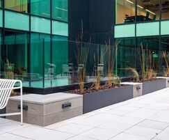 Bespoke steel planters with composite wood seating