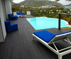 Recycled plastic pool decking