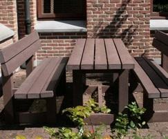 Recycled plastic London table and benches - brown