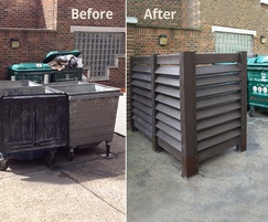 Untidy bin store area transformed by bin storage bay