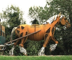 Corten steel, stainless steel and brass horse sculpture