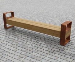 Greenheart and corten steel Beam Bench with arms