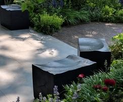 Charred oak seating blocks
