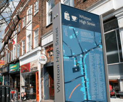 High street retail directory and signage