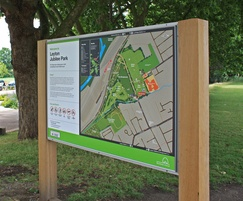 Bespoke information graphics with timber signage