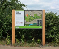 Timber-framed sign with map information