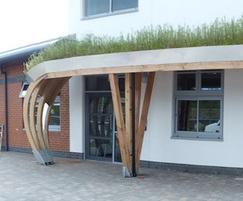 School green roof entrance canopy
