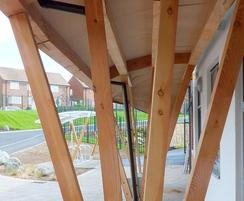 School green roof entrance canopy - underneath