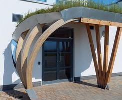Playground school green roof entrance canopy