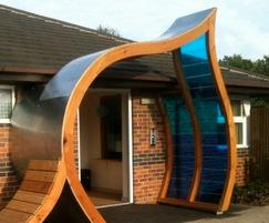NHS entrance canopy with bench
