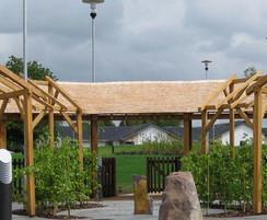 Oak walkway with cedar shingles