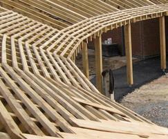 Oak walkway with cedar shingles - construction