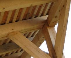 Oak walkway with cedar shingles - frame detail