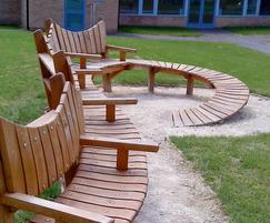 Spiral curved wooden bench
