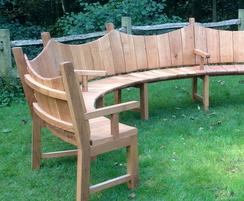 6m curved timber bench