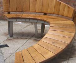 Ramped curved wooden bench
