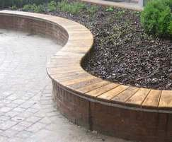 Wall-top double curved timber bench