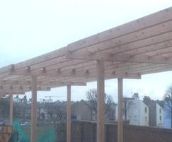 40 metre long Pergola over car park, in Brighton