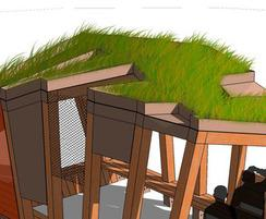 Twisted Youth Shelter with green roof