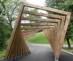 Twisting Frame play structure, made from Douglas Fir