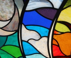 Red Kites stained glass detail