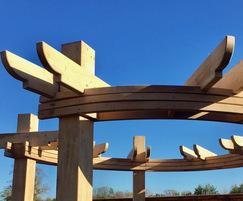 Oak timber cIrcle pergola for show home