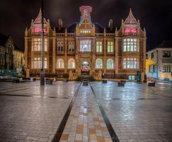 The old town hall building at night - paving contrasts