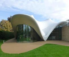 Landscape reflects the curves of the building design