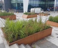 Multi-level bespoke corten steel planters