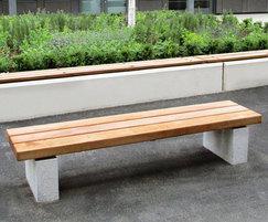 Grey Granite Plinth Mounted Hardwood Bench SBN3331