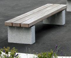 Grey Granite Plinth Mounted Bench SBN3331