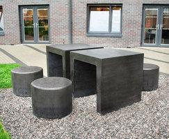 Concrete picnic table and benches - Hertfordshire Uni