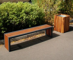 Langley Steel Framed Hardwood Iroko Bench - LBN117