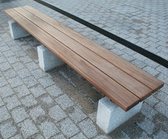 Sheldon Timber Slatted Bench on Plinth Mounts - SBN304