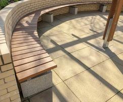 Sheldon Hardwood Iroko Curved Bench - SBN307