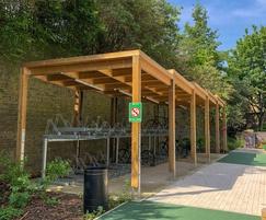 Sheldon Sedum Roof Timber Cycle Shelter - SCS304