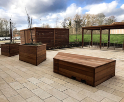 Bin store, cycle shelter, planters and seating