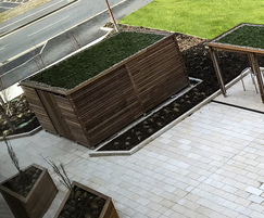 Bin store and cycle shelter with sedum roof